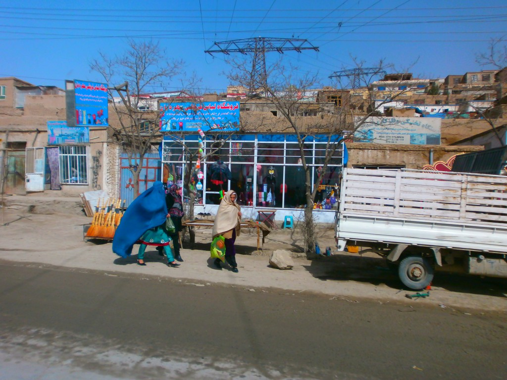 Walking through a Kabul street.
