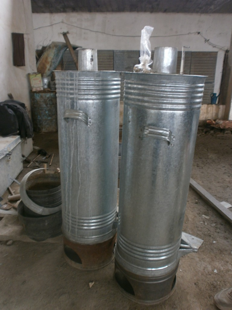 Hand-made water heaters from corrugated metal.